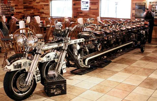 custom 10-seat harley-davidson on a trip to the germany motor