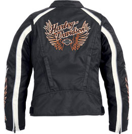 On the right, the new women's Legacy Leather Biker Jacket (P/N 98059-13VW, starting at $350) celebrates more than 100 years of Harley-Davidson riding