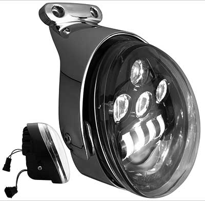 new black 5 3 4 led v rod headlight by headwinds at cyril. Black Bedroom Furniture Sets. Home Design Ideas