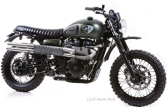 A Triumph Scrambler In Dirt Bike Clothing At Cyril Huze Post
