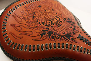 Hand Tooled And Laced Solo Seat At Cyril Huze Post