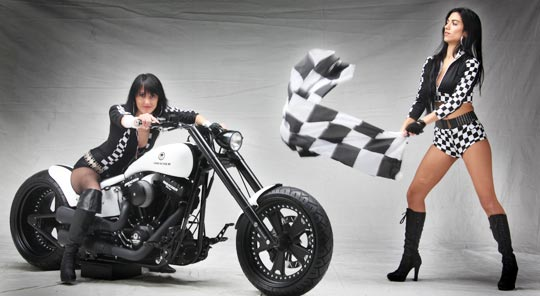 Fantastic way! Custom chopper motorcycles and girls your
